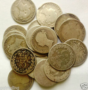 1834  to   date  Victoria three pence silver coins  assorted dates  gap fillers