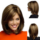 New Fashion Women's Short Brown Blonde Natural Straight Cosplay Hair Full Wigs