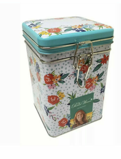 Way To Celebrate The Pioneer Woman Floral Pattern Square Lock Top Tin Canister For Sale Online Ebay