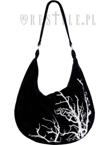 Saco Hobo Restyle Ricamo White Velvet Bag Witch Gothic Branches Tree wxfPT