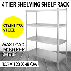 Details about Stainless Steel Kitchen Shelf Shelving Rack Shelves Rack  Restaurant 4-Tier