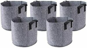 HONGVILLE 5 Piece Grow Bags/Aeration Fabric Pots with Handles