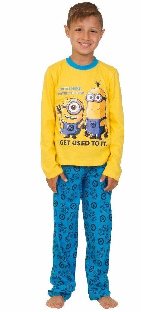 Fiable Minions Pyjama 4 à 10 Ans Nous Sommes Ici Nous Sommes Jaune Get Used To It! Minion Pyjama à Vendre