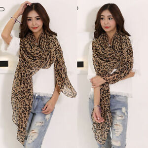 New-Women-Fashion-Long-Leopard-Print-Soft-Chiffon-Shawl-Scarf-Scarves-Wrap-Stole