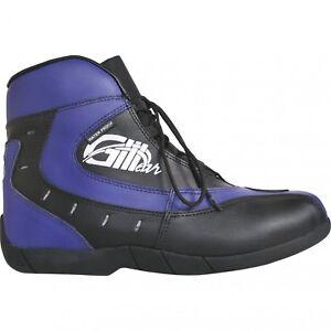 German-Wear-Trends-Bikers-Stiefel-Motorradstiefel-Stiefelette-Blau-Schwarz18-5cm
