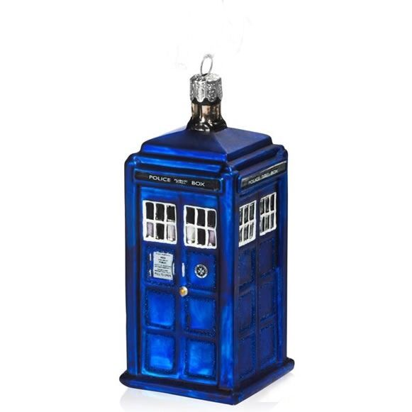 Doctor Who TARDIS Ornament Hand Painted 4 1/4 inch Glass Christmas Collectible