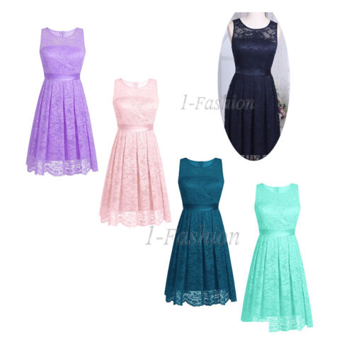 Womens Lace Formal Evening Prom Party Ladies Bridesmaid Wedding Short Maxi Dress