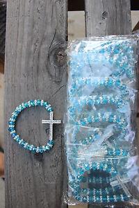 12 Glass Cross Bracelet Wedding Baptism Communion Quinceanera