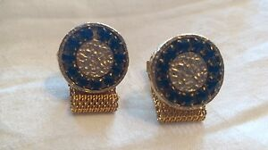 Pair Men's VTG Cuff Links Cufflinks Wide Mesh Wrap Gold Tone Black Jet Stones