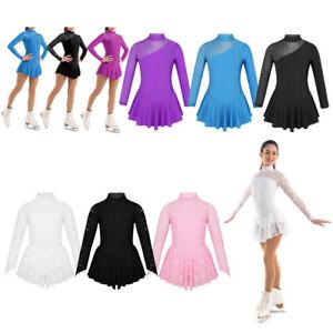 Kids Girls Gymnastics Dance Lace Leotard Figure Ice Ballet Skating Dress Costume