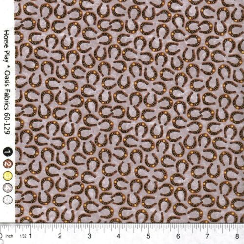 Horse Play Taupe Tournament Horseshoes 100/% Cotton Fabric PICK SIZE