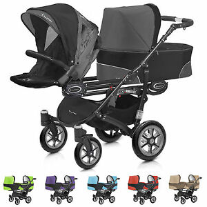 twinni zwillingswagen kombi kinderwagen geschwisterwagen 2 baby wannen 2 buggies ebay. Black Bedroom Furniture Sets. Home Design Ideas
