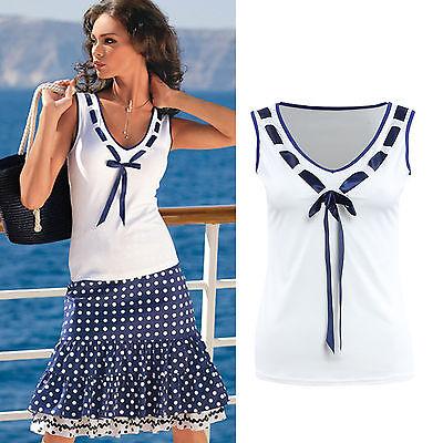Damen V-Ausschnitt Ärmellos Tank Tops Shirts Bowknot T-Shirts Sommer Bluse Hemd