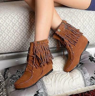 Womens  Fringe Tassel Moccasin flat  Lace Up Faux Suede Ankle Snow Boots Shoes