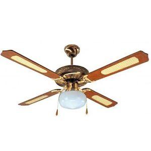 Ventilatore-A-Soffito-4-Pale-In-Legno-3-Velocita-039-Con-Luce-Plafoniera-DCG