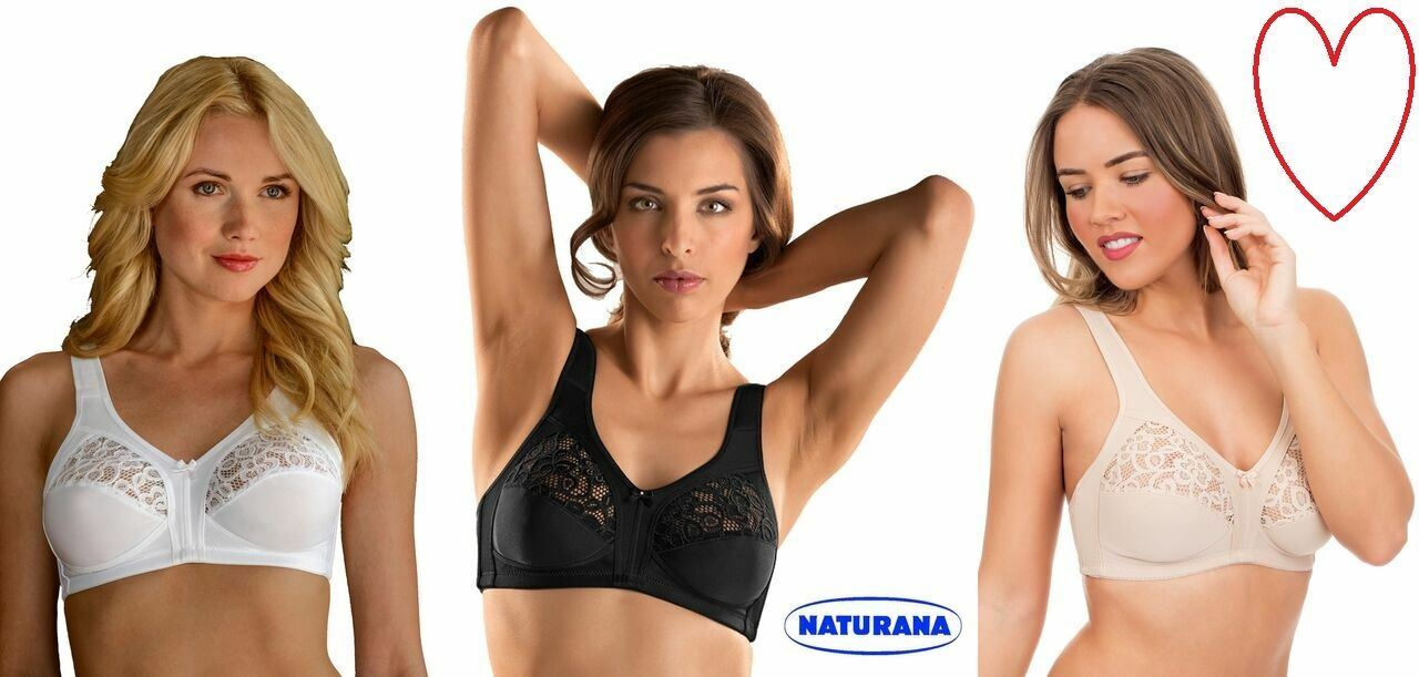 Naturana Cross Over Full Cup Bra 85563 Lined Soft Cup No Wires Full Coverage