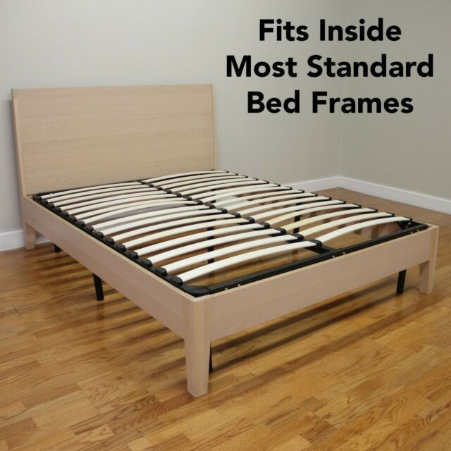Europa Mattress Foundation Bed Frame Wood Slat And Metal Platform Full Size