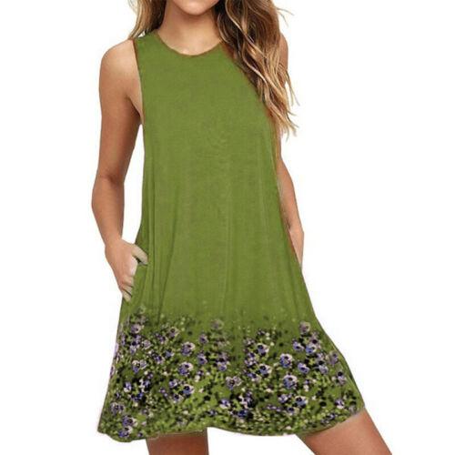 Damen Ärmellos Strandkleid Kleider Sommerkleid Minikleid Tunika Trägerkleid 48
