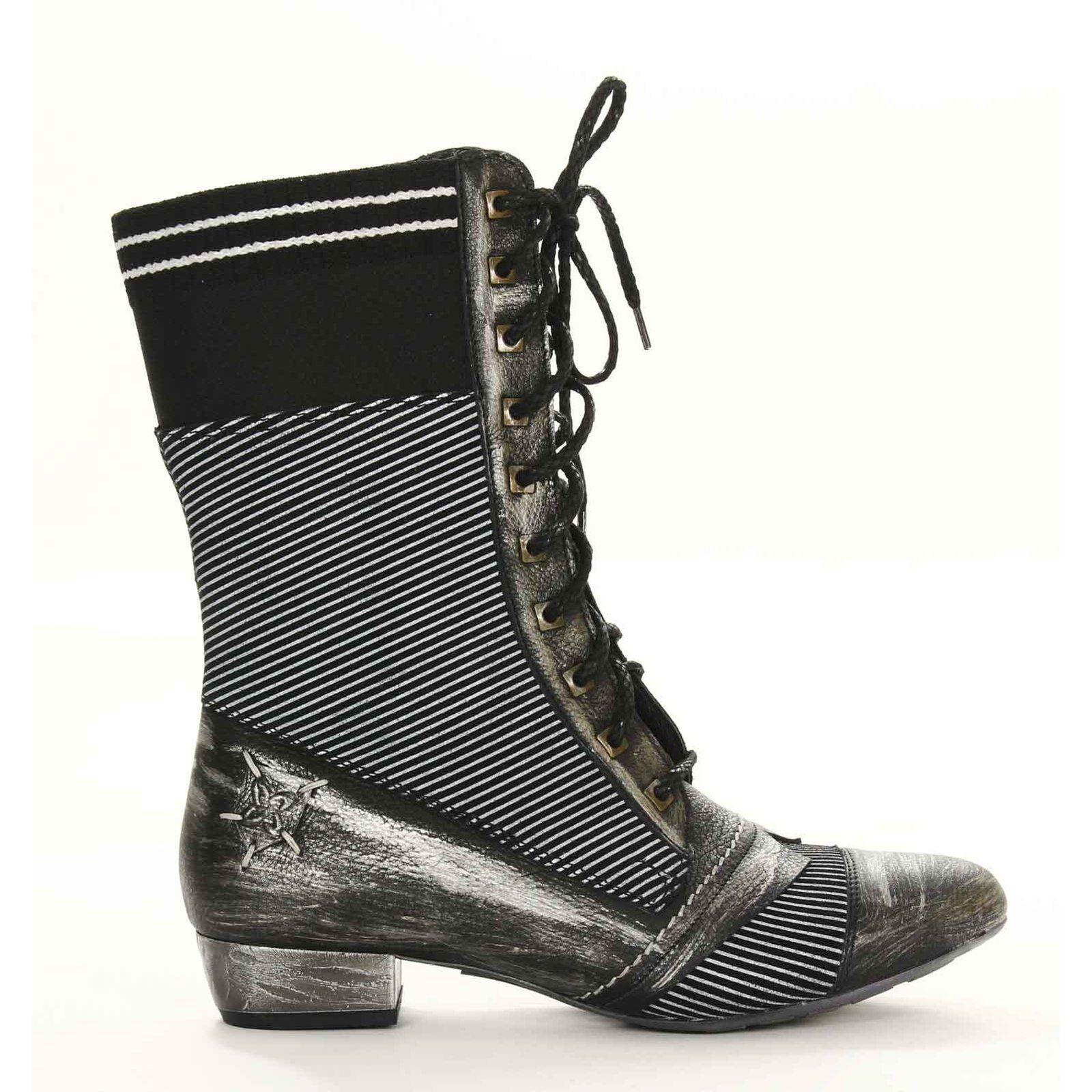 Maciejka Corto botas De Cuero gris Negro Bloque Talón Zapato de Invierno para Mujer