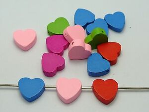 80-Mixed-Bright-Candy-Color-16X18mm-Heart-Wood-Beads-Wooden-beads
