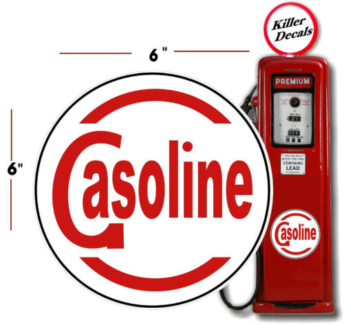 "6/"" WHITE GASOLINE GAS PUMP DECAL"