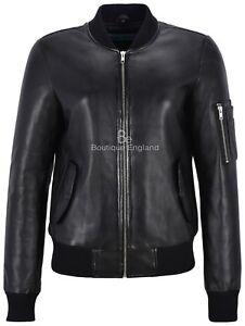 c2207c254a4 Image is loading Designer-Leather-Jacket-Ladies-Black-Retro-Bomber-Style-