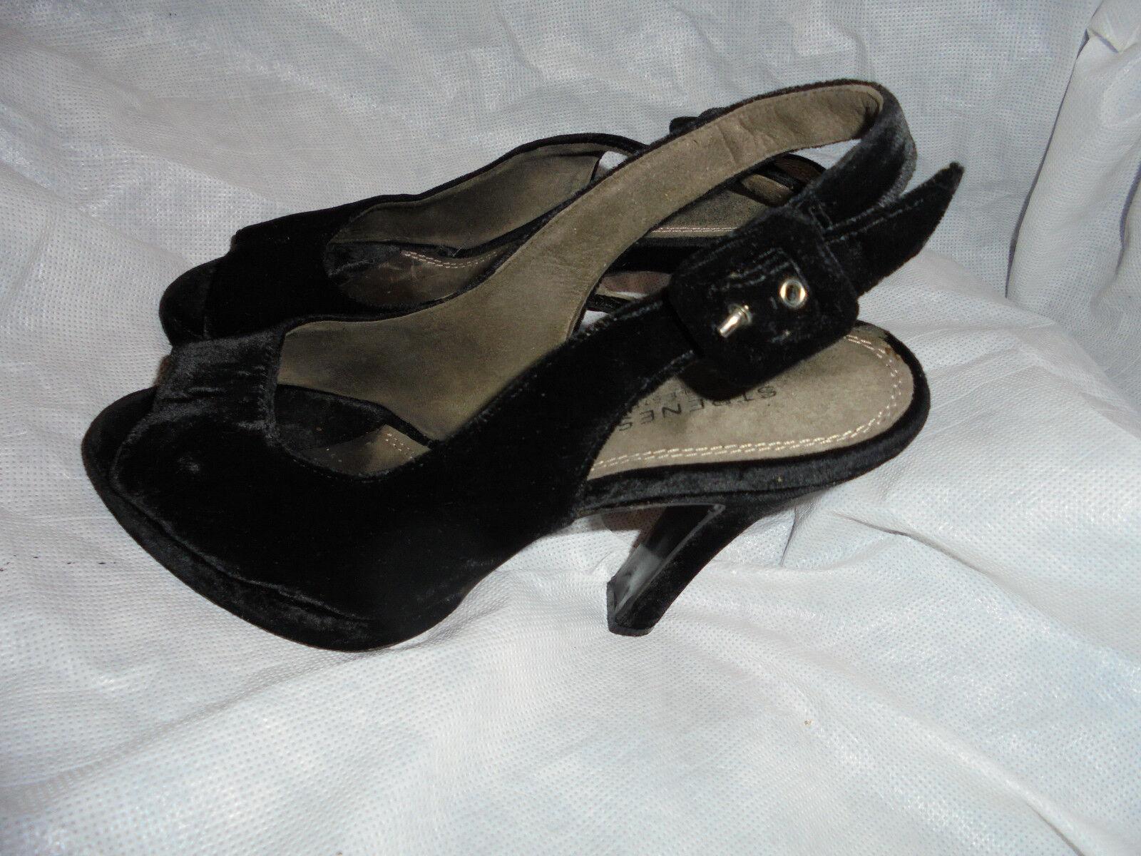 Strenesse para mujer Negro Correa Hebilla Textil Sandalia Zapatos Talla en muy buena condición