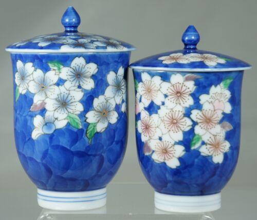 JAPANESE OR CHINESE ASIAN URN/ JAR LIDDED,BLUE,GOLD,FLOWER BLOSSOM,PAIR