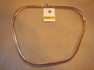 CHAINE PLAQUE OR MAILLE MEDIUM LONG 50 CM 8 G VINTAGE NEUF//NEW GOLD PLATED CHAIN