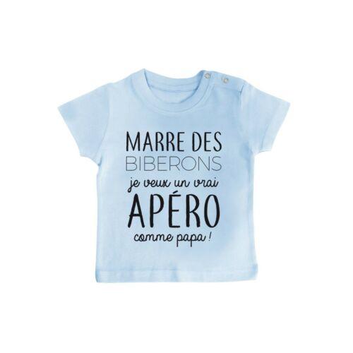 T-shirt bébé marre des biberons,je veux un apéro comme papa