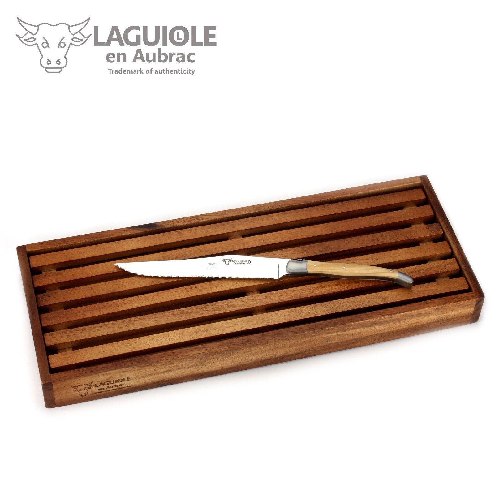 Laguiole en Aubrac ccp99oli-Couteau à pain avec planche à découper-poignée Olivenholz