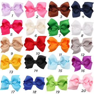 3-Inch-Girls-Kids-Hair-Bow-Boutique-Alligator-Clips-Headwear-Ribbon-Bowknot