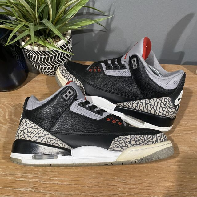 Nike Air Jordan 3 Basketball Shoes for Men, Size 8.5US - Black/Fire Red/Cement Grey