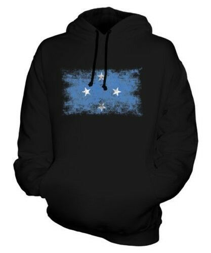 MICRONESIA DISTRESSED FLAG UNISEX HOODIE TOP FOOTBALL GIFT JERSEY