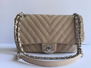 Image Is Loading Nwt Authentic 2017 Chanel Flap Studded Beige With