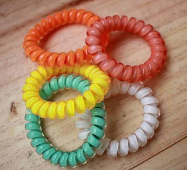 5pcs Fall Gel Stretch Plastic Spiral Phone Cord Hair Ties Band Coil High Quality