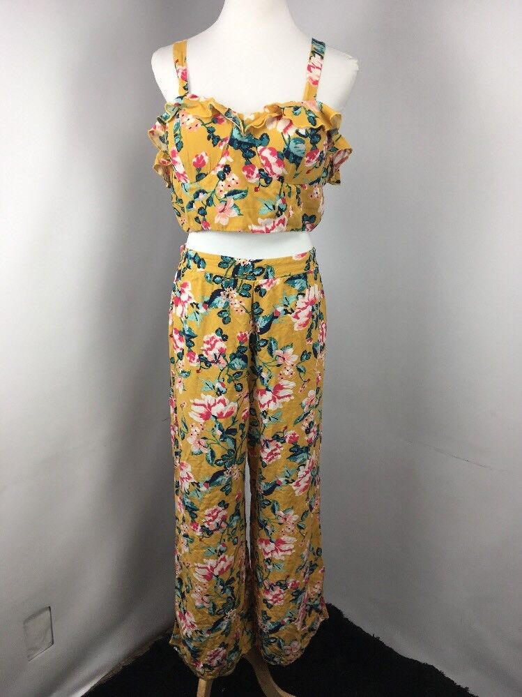 Xhiliration Womens 2pc  Floral Pattern Print Crop Top-XL Wide Leg Pants-L Ruffle