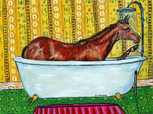 quarter horse art  poster gift modern bathroom folk  4X6 GLOSSY PRINT