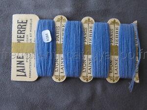 R384 Mercerie ancienne carte fil 4 bobines LAINE SAINT PIERRE bleu Lyon Paris YDiNNNWP-09165021-717911323
