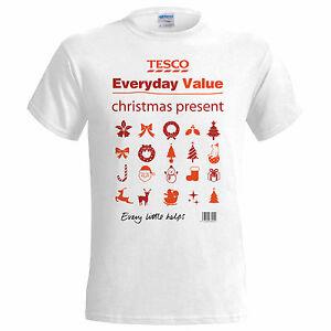 48fd8dfcf212 Tesco Value Xmas Present Christmas Funny Mens T Shirt Santa Snowman ...