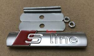 Grade-B-Sline-Badge-Grille-Emblems-Alliage-De-Chrome-Argent-amp-Rouge-decal-Pour-AUDI-tous