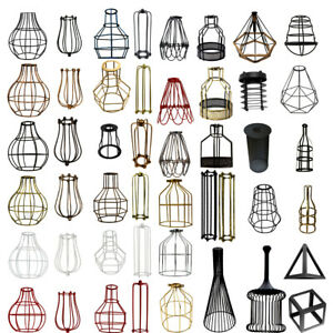 VINTAGE-Industriale-Gabbia-in-Metallo-Lampadario-Pendente-da-Soffitto-Easy-Fit-paralume-UK