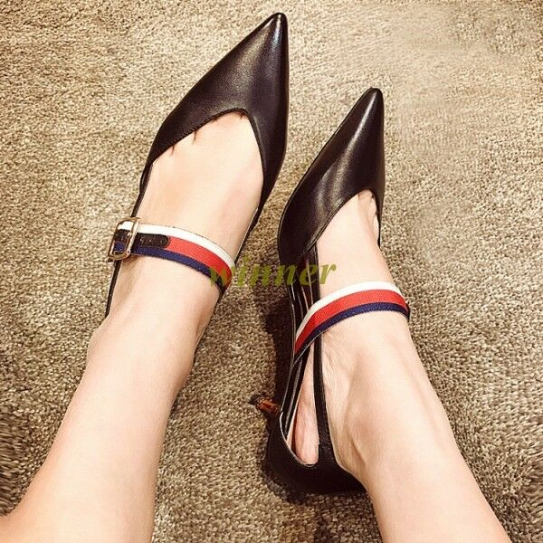 Sexy Pointed Toe Womens Stipe Buckle Bamboo Heel Party Sandals Mixed COlor Shoes