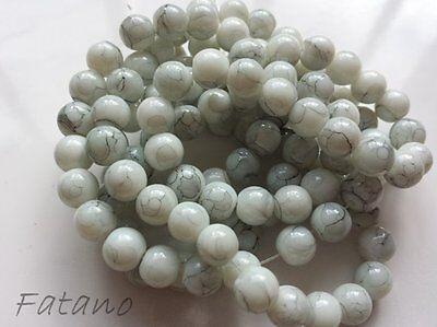 Glasperlen woll weiß marmoriert 8 mm 100 Stück Schmuck Kugel Basteln Perlen  R26