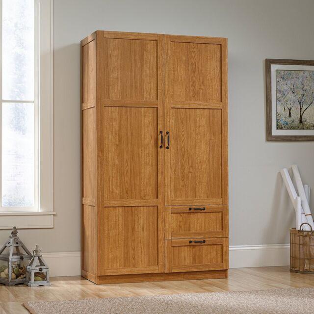 Oak Finish Armoire Wooden Wardrobe Storage Cabinet Closet Drawers Organizer For Online