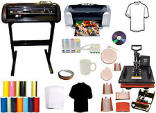 8in1 Combo Heat Press,24 METAL Vinyl Cutter Plotter,Printer,CISS,PU Vinyl,Tshirt