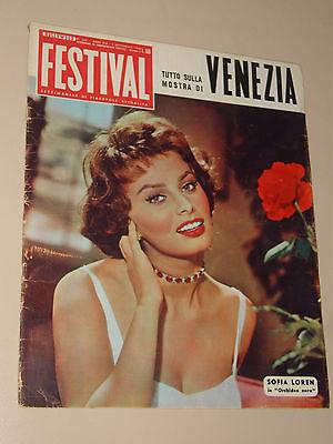 FESTIVAL=1 SETTEMBRE 1958=SOFIA SOPHIA LOREN COVER MAGAZINE ORCHIDEA NERA FILM