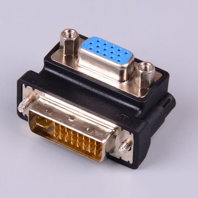 DVI-I 24+5 pin male to VGA 15 pin female 90 degree convertor adapter black HF