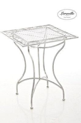 Tisch Asina antik weiss Loraville Gartentisch Beistelltisch Metalltisch Neu