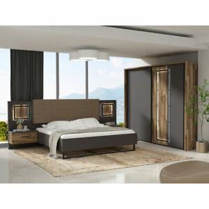 Schlafzimmer Set Sirius Black Bett Schrank Nako In Grau Und Stabeiche Mit Led Ebay